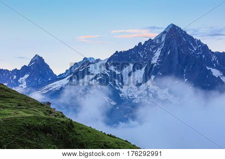 Aiguille du Chardonnet (3824m) and Aiguille du Tour (3544m). Graian Alps France