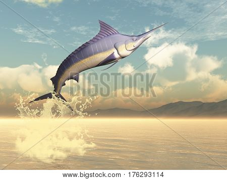 Marlin fish jumping by sunset - 3D render