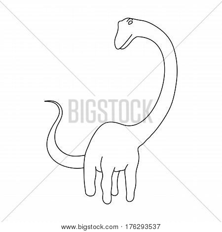Cute Monster kids logo monster .A green dinosaur in an amusement park. Jurassic Park.Amusement park single icon in outline style vector symbol stock web illustration.