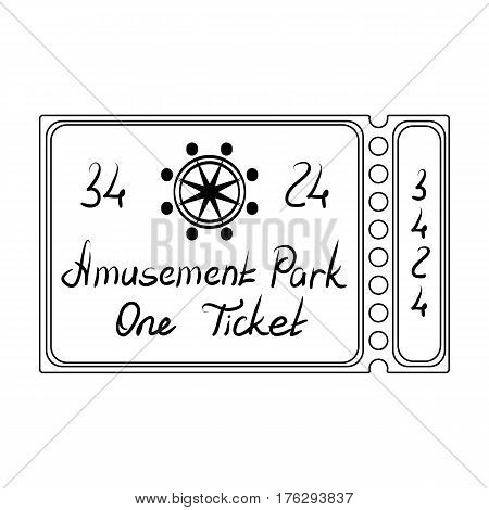 Ticket for passage to the territory of the amusement park.Amusement park single icon in outline style vector symbol stock web illustration.
