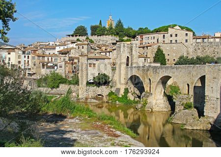Besalu Spain - September 09 2014: View of Besalu village (Catalonia Spain)