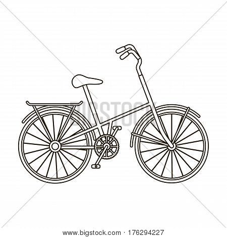 Children s bicycle with low frame and luggage compartment flaps.Different Bicycle single icon in outline style vector symbol stock web illustration.