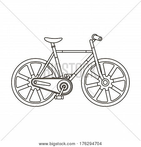 Sport bike racing on the track. Speed bike with reinforced wheels.Different Bicycle single icon in outline style vector symbol stock web illustration.