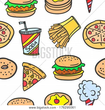 Collection stock of fast food style doodles vector art