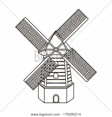 Rural wooden mill. Mill for grinding grain into flour.Farm and gardening single icon in outline style vector symbol stock web illustration.