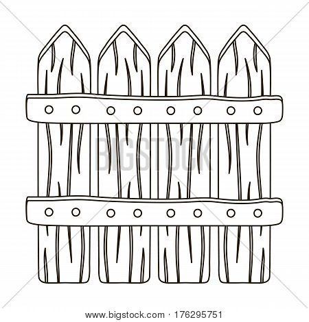 Wooden decorative sectional fence. Fencing for the protection of the garden.Farm and gardening single icon in outline style vector symbol stock web illustration.