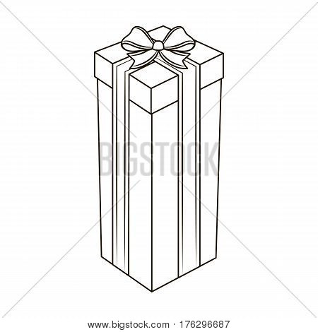 A high gift box, for a high and narrow gift.Gifts and Certificates single icon in outline style vector symbol stock web illustration.