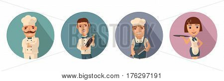 Set icon character cook. Waiter with bottle wine. Man with knife. Proud chef with a mustache crossed his arms. Waitress with tray. Vector flat illustration with shadow on color circle.