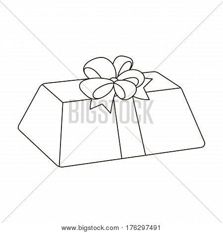 A flesh-colored gift with a red bow. Sweet present.Gifts and Certificates single icon in outline style vector symbol stock web illustration.