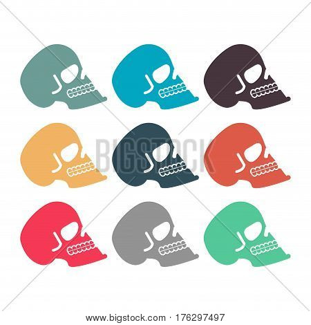 Colored Skull Set. Multicolored Skeleton Head. Symbol Of Death
