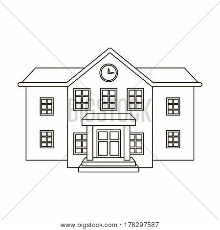 The main entrance of the institution . The school clock above the entrance.School And Education single icon in outline style vector symbol stock web illustration.