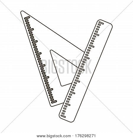 Ruler and triangle. Devices for school drawing.School And Education single icon in outline style vector symbol stock web illustration.