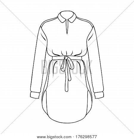 Women s shirt with a belt for housework. A dirty white apron for women.Women clothing single icon in outline style vector symbol stock web illustration.