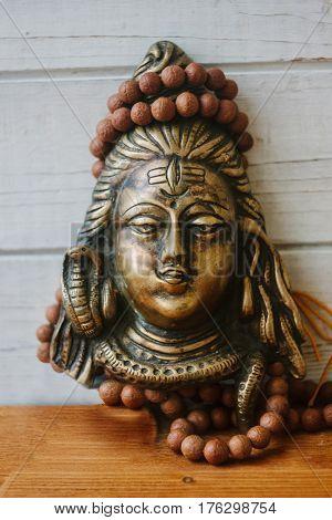 Hindu God - Shiva With Rudraksha Rosary On The Head.