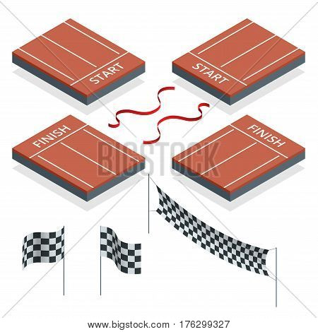 Isometric Start and Finish, Checkered flags, flat vector illustration