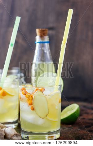 Cold Lemonade With Ginger, Lime And Sea Buckthorn