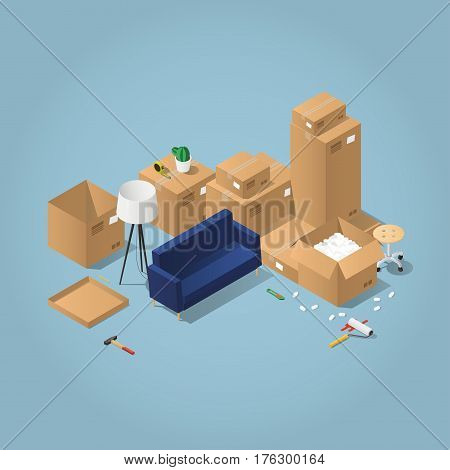 Isometric detailed concept illustration of moving to a new house. Cardboard boxes with furniture, couch, wheel chair, lamp, different instruments and tools.