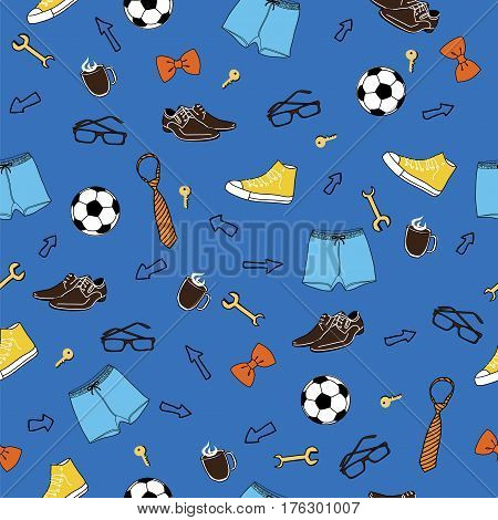 Blue male seamless vector pattern background. International Men's Day. Father's day.