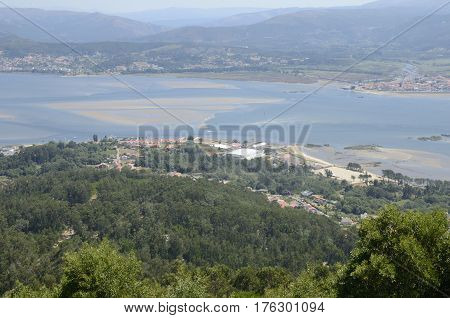 Portugal coastline antd the Minho estuary seen from the Mount of Santa Tecla in Galicia Spain.