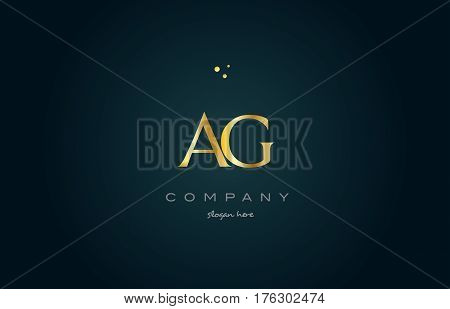 Ag A G  Gold Golden Luxury Alphabet Letter Logo Icon Template