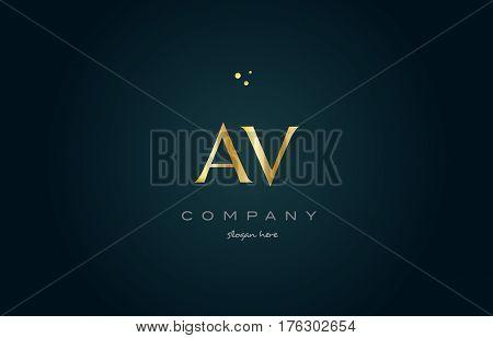 Av A V  Gold Golden Luxury Alphabet Letter Logo Icon Template
