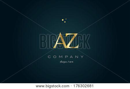 Az A Z  Gold Golden Luxury Alphabet Letter Logo Icon Template