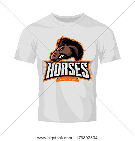 Furious horse sport club vector logo concept isolated on white t-shirt mockup. Modern professional team badge design. Premium quality wild stallion animal t-shirt tee print illustration design.