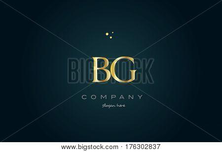Bg B G  Gold Golden Luxury Alphabet Letter Logo Icon Template
