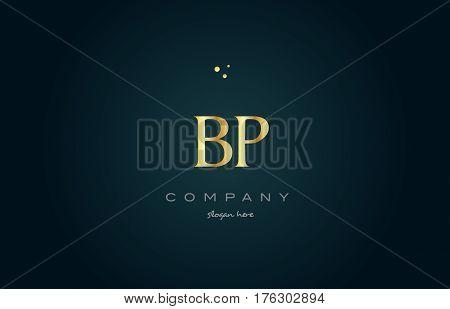 Bp B P  Gold Golden Luxury Alphabet Letter Logo Icon Template