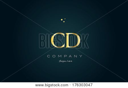 Cd C D  Gold Golden Luxury Alphabet Letter Logo Icon Template