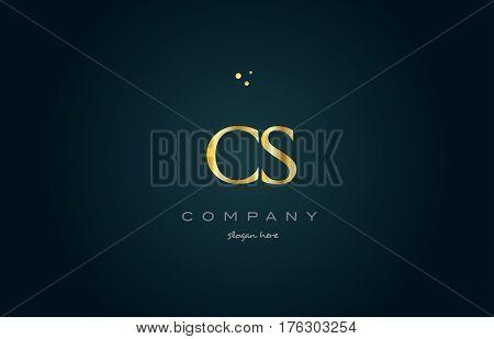 Cs C S  Gold Golden Luxury Alphabet Letter Logo Icon Template