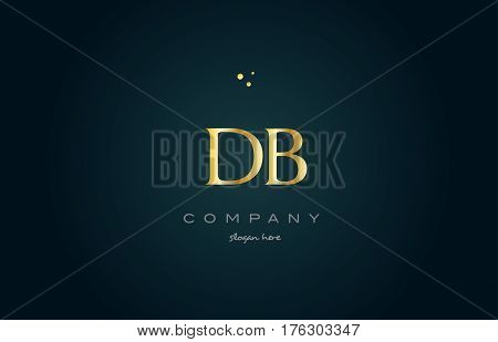 Db D B  Gold Golden Luxury Alphabet Letter Logo Icon Template