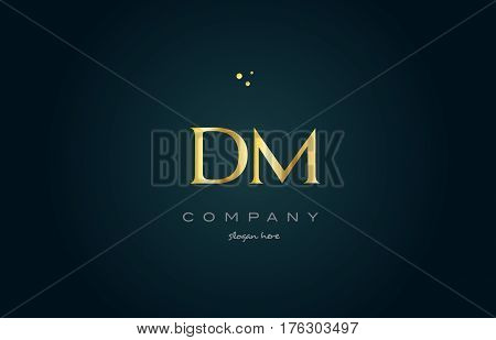 Dm D M  Gold Golden Luxury Alphabet Letter Logo Icon Template