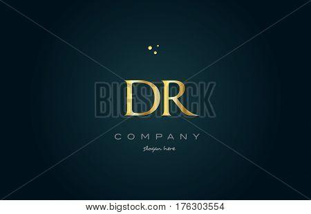Dr D R  Gold Golden Luxury Alphabet Letter Logo Icon Template