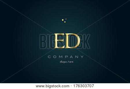 Ed E D  Gold Golden Luxury Alphabet Letter Logo Icon Template