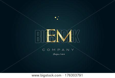 Em E M  Gold Golden Luxury Alphabet Letter Logo Icon Template