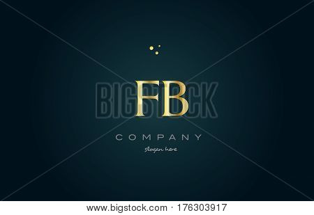Fb F B  Gold Golden Luxury Alphabet Letter Logo Icon Template