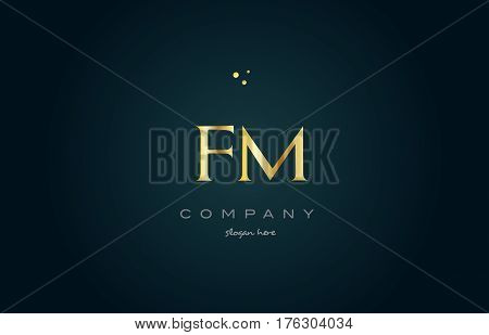 Fm F M  Gold Golden Luxury Alphabet Letter Logo Icon Template