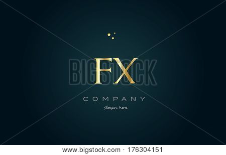 Fx F X  Gold Golden Luxury Alphabet Letter Logo Icon Template