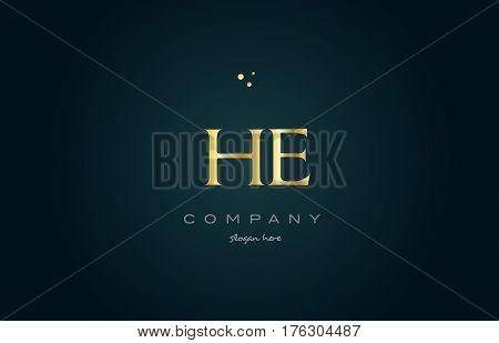 He H E  Gold Golden Luxury Alphabet Letter Logo Icon Template