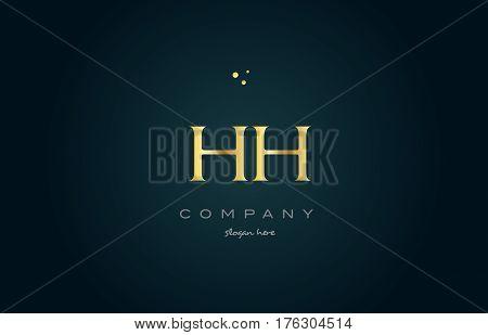 Hh H H  Gold Golden Luxury Alphabet Letter Logo Icon Template