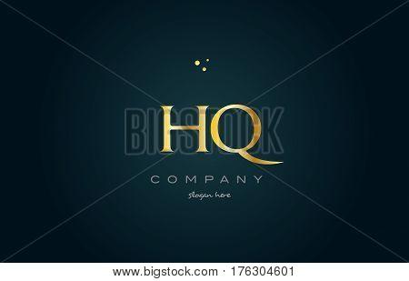 Hq H Q  Gold Golden Luxury Alphabet Letter Logo Icon Template