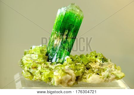 tourmaline green mineral collection ore precious rock