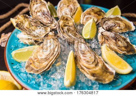 some fresh raw oysters with ice and lemon in restaurant