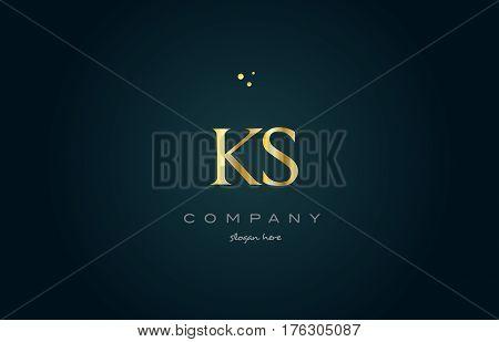 Ks K S  Gold Golden Luxury Alphabet Letter Logo Icon Template