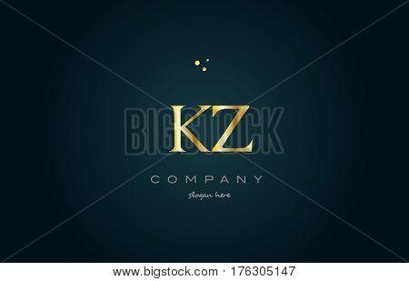 Kz K Z  Gold Golden Luxury Alphabet Letter Logo Icon Template