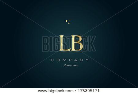 Lb L B  Gold Golden Luxury Alphabet Letter Logo Icon Template