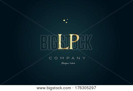 Lp L P  Gold Golden Luxury Alphabet Letter Logo Icon Template