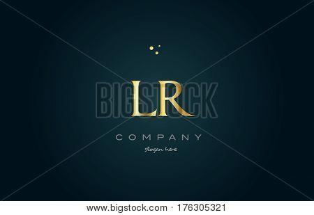 Lr L R  Gold Golden Luxury Alphabet Letter Logo Icon Template
