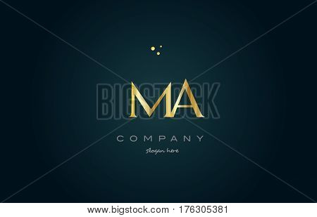 Ma M A  Gold Golden Luxury Alphabet Letter Logo Icon Template